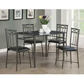 Casual Black Metal Five-piece Dining Set