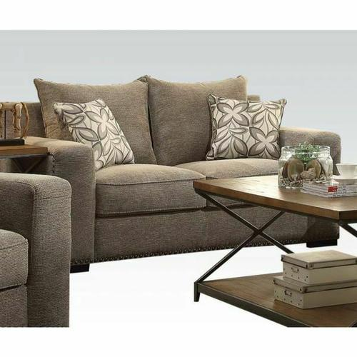 ACME Ushury Loveseat w/2 Pillows - 52191 - Gray Chenille