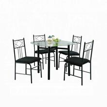 ACME Penelope 5Pc Pack Dining Set - 02520BK - Black & Clear Glass