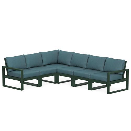 Polywood Furnishings - EDGE 6-Piece Modular Deep Seating Set in Green / Ocean Teal