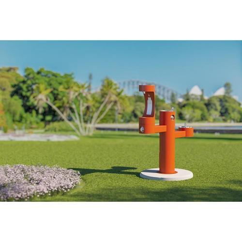 Elkay - Elkay Outdoor EZH2O Bottle Filling Station Tri-Level Pedestal, Non-Filtered Non-Refrigerated Orange