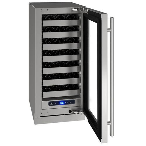"U-Line - Hwc515 15"" Wine Refrigerator With Stainless Frame Finish and Left-hand Hinge Door Swing (115 V/60 Hz Volts /60 Hz Hz)"