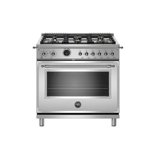 Product Image - 36 inch Dual Fuel Range, 6 Brass Burner, Electric Self-Clean Oven Stainless Steel