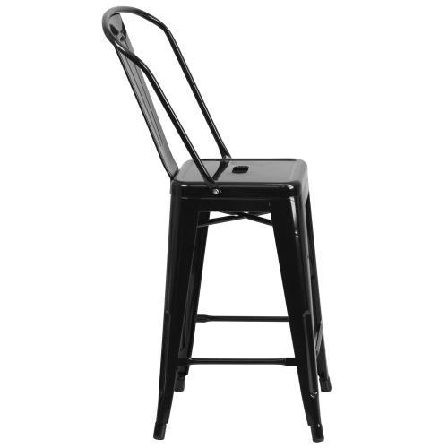 Alamont Furniture - 24'' High Black Metal Indoor-Outdoor Counter Height Stool with Back