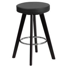 24'' High Contemporary Cappuccino Wood Counter Height Stool with Black Vinyl Seat