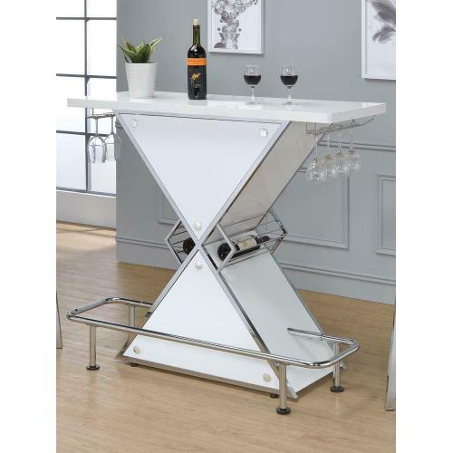 - Contemporary White Stacked Triangle Bar Unit
