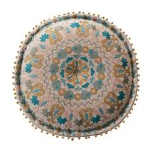 """Product Image - 24"""" Round x 8""""H Cotton Embroidered Pouf with Pom Poms, Multi Color"""
