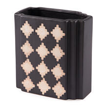 Small Pampa Rectangular Vase Black & Beige