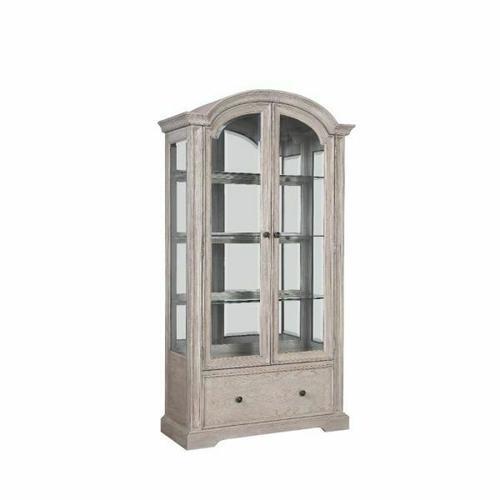 ACME Wynsor Curio Cabinet - 67535 - Traditional - Wood (Poplar), Wood Veneer (Oak), MDF - Antique Champagne