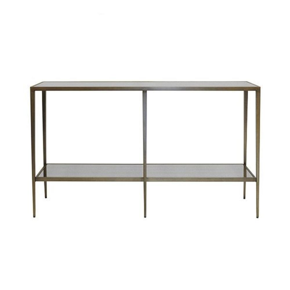 Our Elaine Console Is A Designer Favorite for Its Elegant Profile and Versatile Function. the Minimalist, Tapered Leg Console Melds Seamlessly With Many Different Design Styles. Finished In Painted Bronze With Inset Antique Mirror Top & Shelf.
