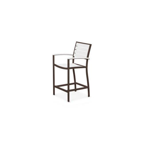 Polywood Furnishings - Eurou2122 Counter Arm Chair in Textured Bronze / White