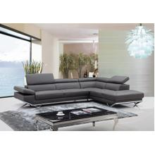 View Product - Divani Casa Quebec - Modern Dark Grey Eco-Leather Right Facing Sectional Sofa