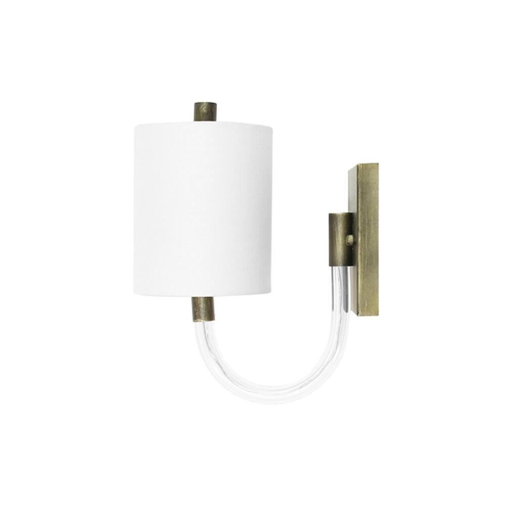 Wall Sconce With Acrylic Neck and White Linen Shade In Painted Bronze