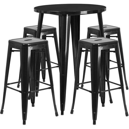 30'' Round Black Metal Indoor-Outdoor Bar Table Set with 4 Square Seat Backless Stools