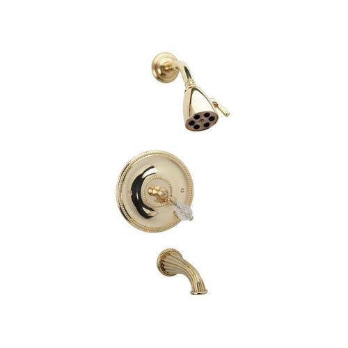 REGENT CUT CRYSTAL Pressure Balance Tub and Shower Set PB2181 - Satin Gold with Satin Nickel