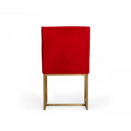 VIG Furniture - Modrest Barker - Modern Burnt Orange & Brush Gold Dining Chair (Set of 2)