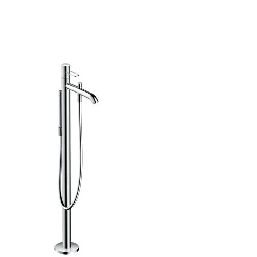 Stainless Steel Optic Single lever bath mixer floor-standing with loop handle