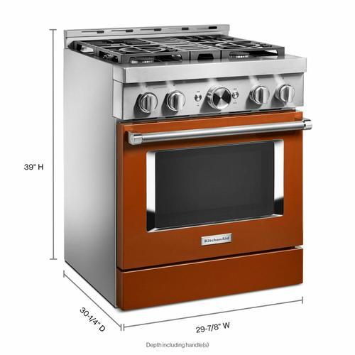 KitchenAid - KitchenAid® 30'' Smart Commercial-Style Gas Range with 4 Burners - Scorched Orange