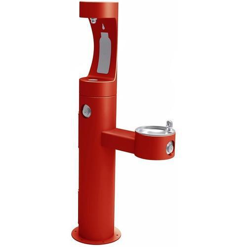 Elkay - Elkay Outdoor ezH2O Bottle Filling Station Bi-Level Pedestal, Non-Filtered Non-Refrigerated Freeze Resistant Red