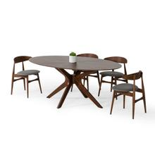 View Product - Modrest Prospect - Modern Oval Walnut Dining Table