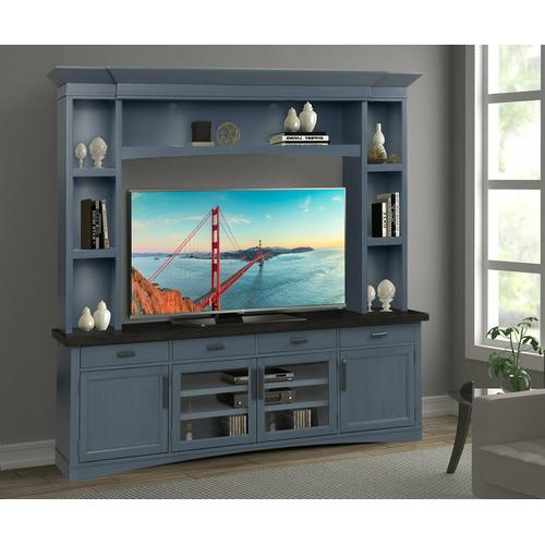 See Details - AMERICANA MODERN - DENIM 92 in. TV Console with Hutch and LED Lights