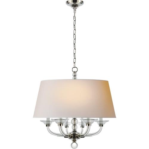 Visual Comfort - E. F. Chapman Stacked Ball 6 Light 30 inch Polished Nickel Hanging Shade Ceiling Light