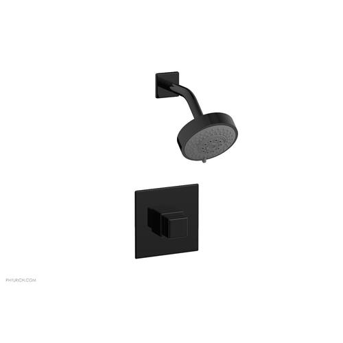 MIX Pressure Balance Shower Set - Cube Handle 290-24 - Gloss Black