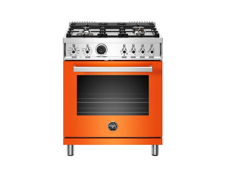 Bertazzoni30 Inch Dual Fuel Range, 4 Brass Burner, Electric Self-Clean Oven Arancio