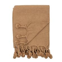 """Product Image - 60""""L x 50""""W Cotton Throw with Braided Pom Pom Tassels, Dijon Color"""