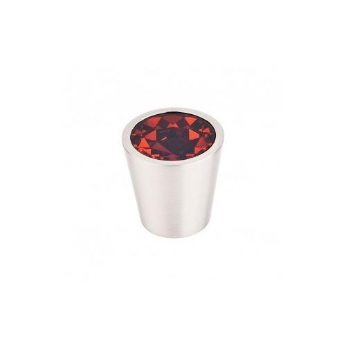 Top Knobs - Wine Crystal Center Knob 1 1/16 Inch - Brushed Satin Nickel