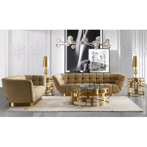 Gallery - Divani Casa Granby - Glam Mustard and Gold Fabric Sofa
