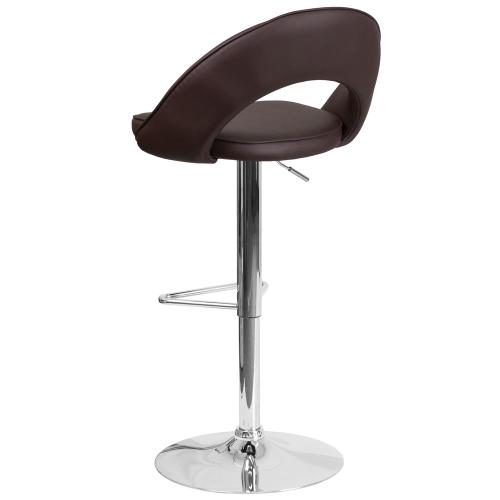 Contemporary Brown Vinyl Rounded Back Adjustable Height Barstool with Chrome Base