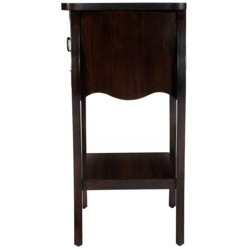 Butler Specialty Company - Crafted from mahogany veneer and wood products in a stylish and dramatic wood finish, this nightstand is perfect for stowing bedside essentials. This lovely nightstand showcases a single drawer with iron hardware, a scalloped apron and lower display shelf.