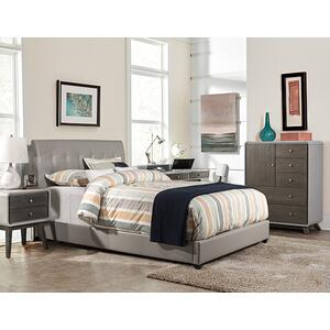 Lusso Queen Bed Set - Gray Faux Leather