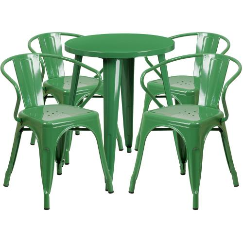 24'' Round Green Metal Indoor-Outdoor Table Set with 4 Arm Chairs