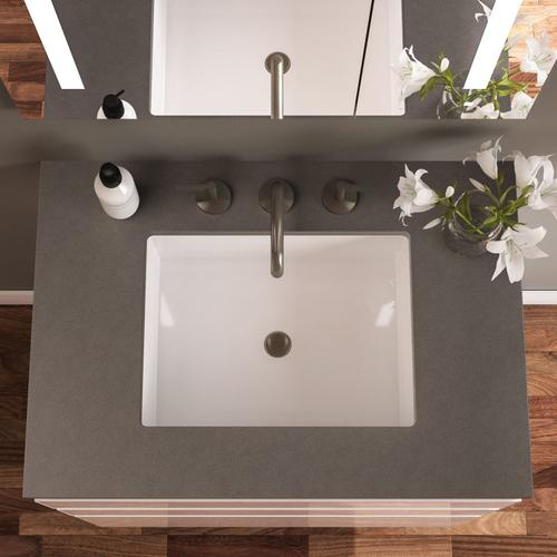 "Curated Cartesian 36"" X 15"" X 21"" Single Drawer Vanity In Tinted Gray Mirror Glass With Slow-close Plumbing Drawer, Night Light and Engineered Stone 37"" Vanity Top In Silestone Lyra"