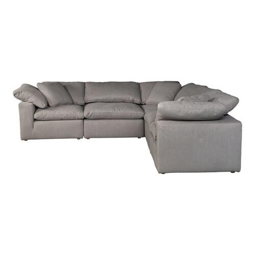 Moe's Home Collection - Terra Condo Classic L Modular Sectional Livesmart Fabric Light Grey