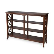 With its open quatrefoil sides, three shelves and open back, this timeless, classic bookcase brings heirloom appeal to the office or living room. Features an Plantation Cherry finish.