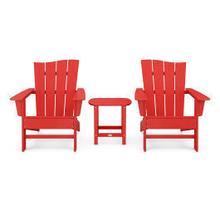 View Product - Wave 3-Piece Adirondack Chair Set in Vintage Sunset Red