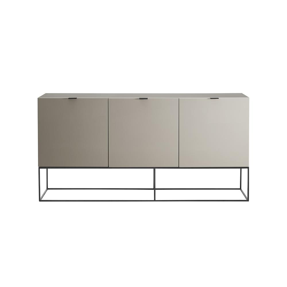 The Vizzione Buffet-server In High Gloss Taupe Lacquer With Black Base