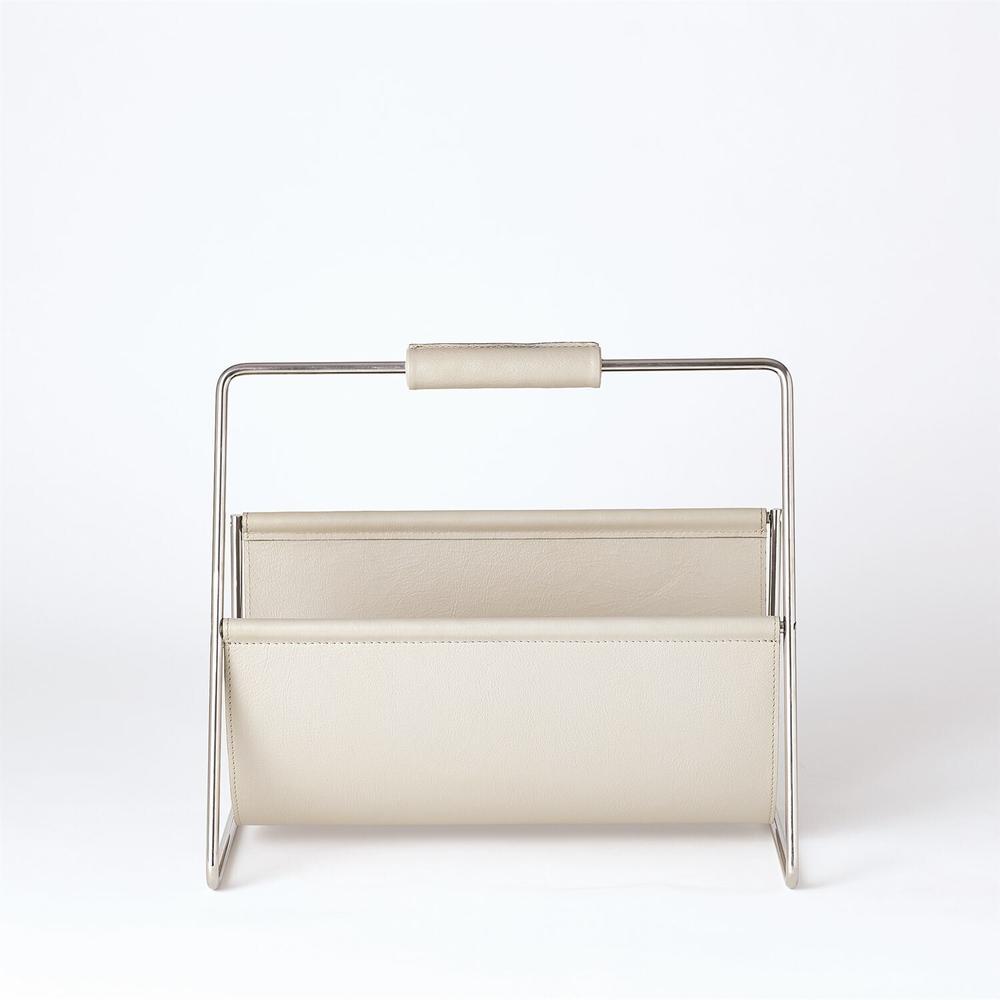 See Details - Vivien Literature Holder-Nickel w/Grey Leather