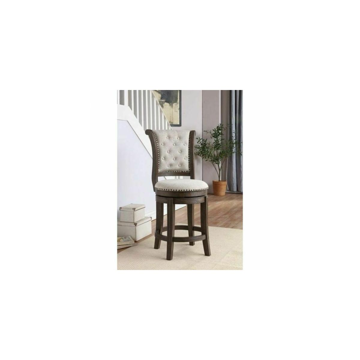 ACME Glison Bar Chair (1Pc) - 96457 - Beige Fabric & Walnut