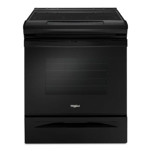 Whirlpool - 4.8 cu. ft. Guided Electric Front Control Range With The Easy-Wipe Ceramic Glass Cooktop Black