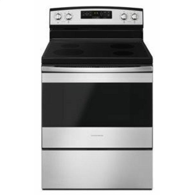 Amana 30-inch Electric Range with Self-Clean Option - Black-on-Stainless