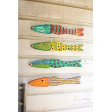 See Details - set of 4 recycled wood folk art fish