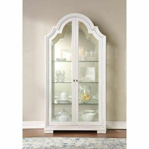 ACME Celestia Curio Cabinet - 62116 - Traditional - Wood (Solid Poplar), Wood Veneer (Oak), Poly-Resin, MDF, Ply, PB - Off White