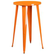 24'' Round Orange Metal Indoor-Outdoor Bar Height Table
