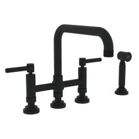 Campo Deck Mount U-Spout 3 Leg Bridge Faucet with Sidespray - Matte Black with Industrial Metal Lever Handle