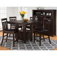 Kona Grove Counter Height Table With Four Slat Back Stools