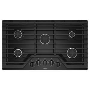 Whirlpool36-inch Gas Cooktop with EZ-2-Lift™ Hinged Cast-Iron Grates Black